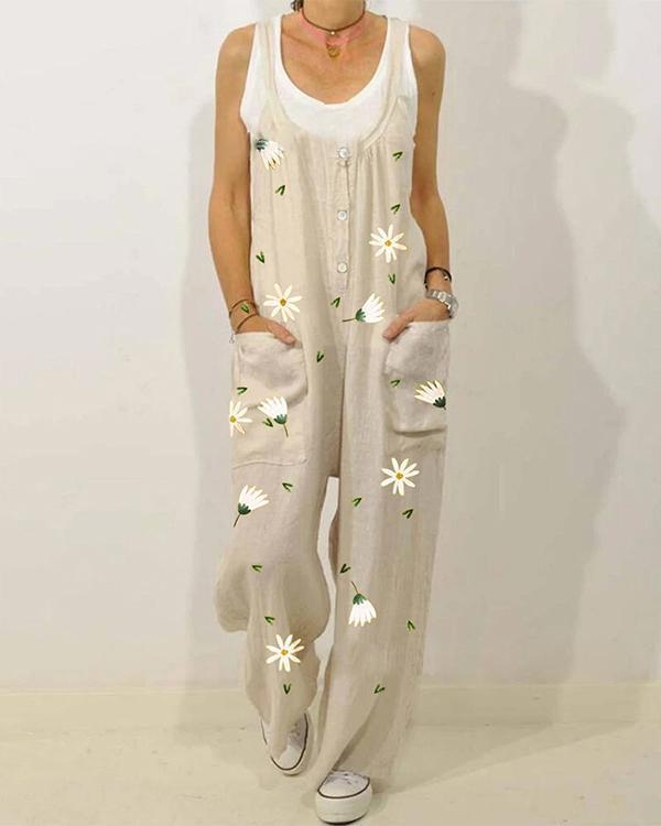 Vinatge Floral Print Strapless Jumpsuit