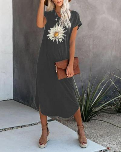 Flower Printed Casual Midi Dresses