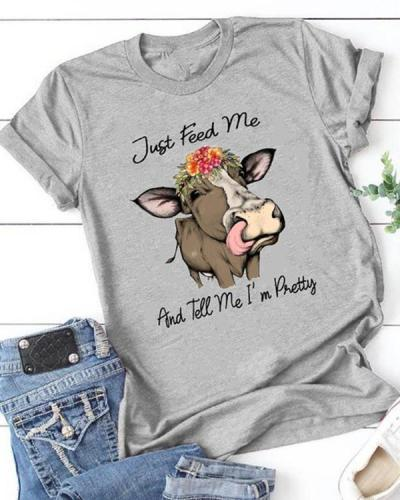 Women Animal Printing Design Short Sleeve T-shirt
