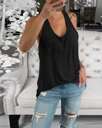 Plain Cotton Casual Sleeveless Shirts & Tops