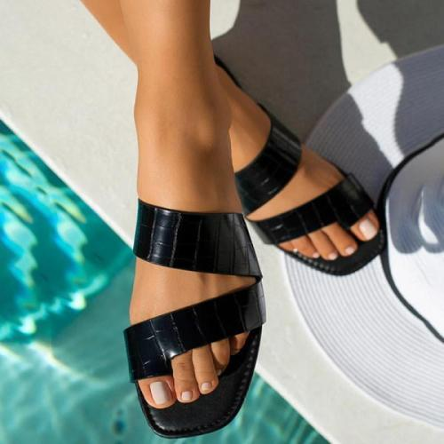 Women's comfortable flat bottom toe outdoor slippers