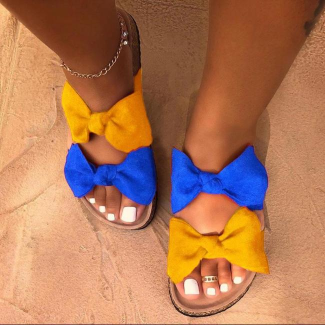 Bow Slip-On Flip Flop Flat With Summer Slippers