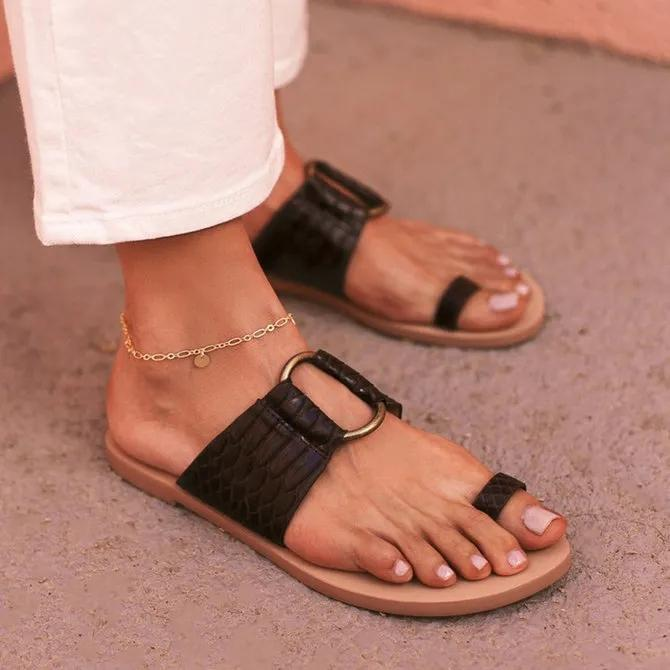 Black Summer Leather Slippers
