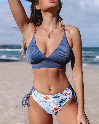 Blue And Floral Lace-Up Bikini Set