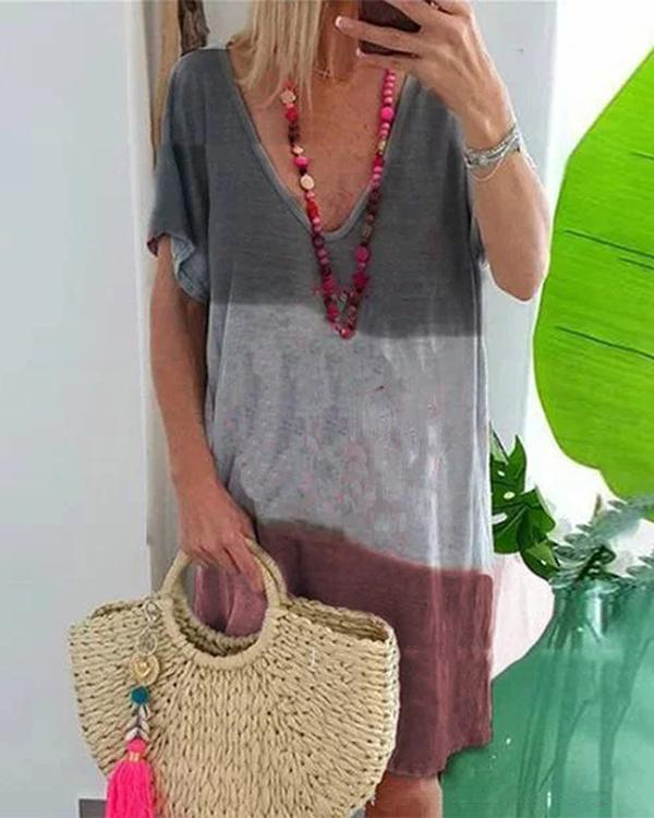 V Neck Women Dye Casual Dress