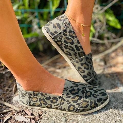 Women Comfy Animal Print Espardille Flat Shoes