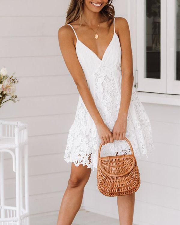 White Deep-V-neck Spaghetti Straps Cami Lace Mini Dress