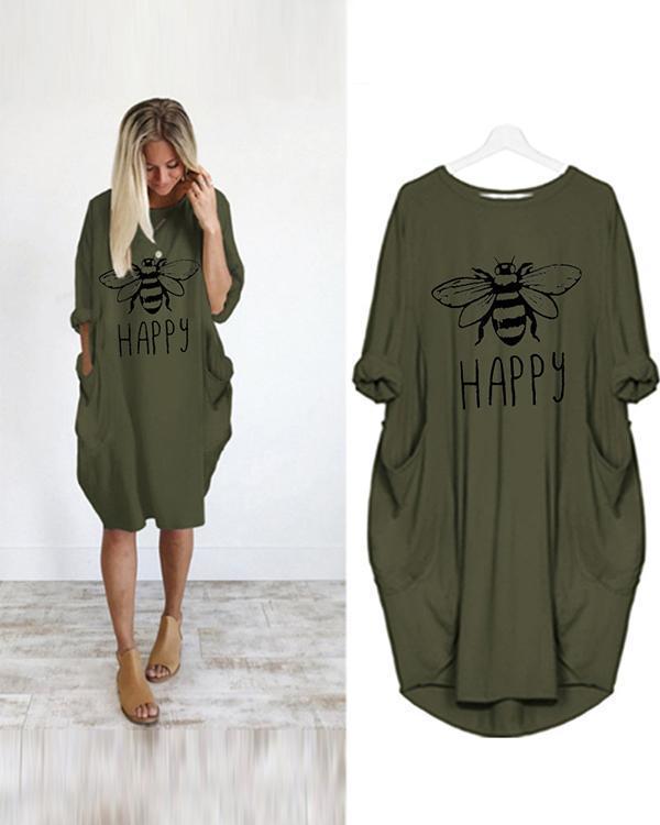 Women Printed Pockets Casual Summer Spring Mini Dresses