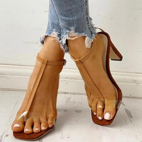 Women Brown Summer Transparent Heel Sandals