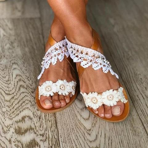 White Flat Heel Holiday Summer Sandals