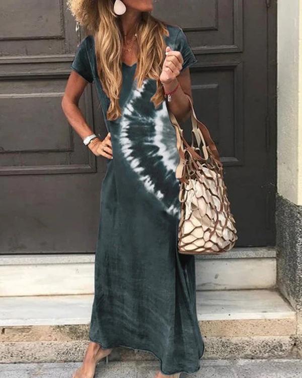 Ombre Tie-Dye Short Sleeve Dresses