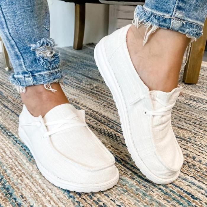 Women Classic Canvas Flat Low Top Slip on Loafers