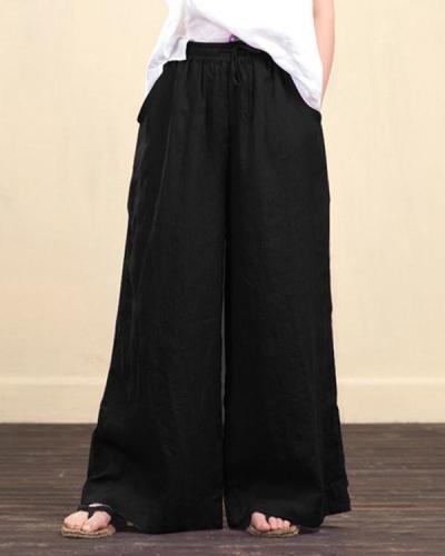 Women Elastic Waist Loose Wide Leg Long Pants