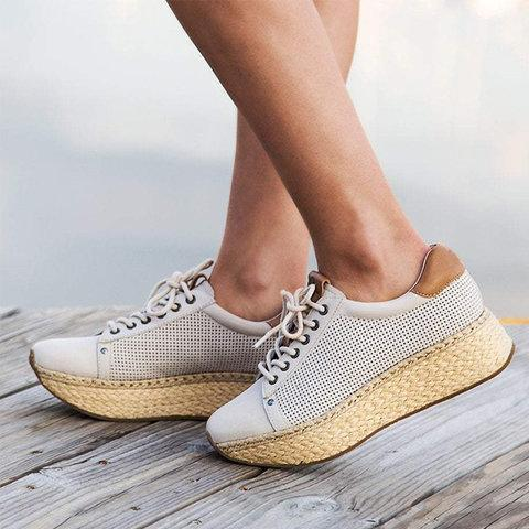 Artificial Leather Athletic Hollow-Out Sneakers