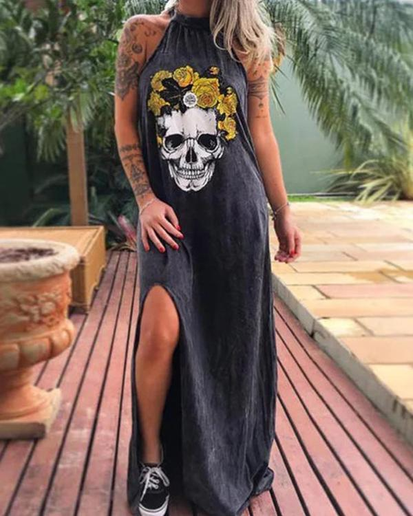Skull Print Halter Neck Sleeveless Casual Slit Maxi Dress
