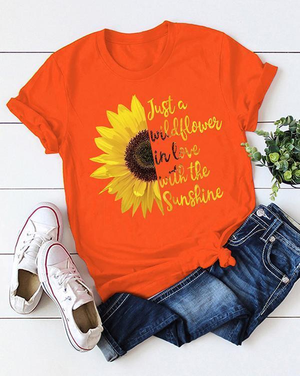 Women Round Neck Short Sleeve Print  Cotton Women T-shirt