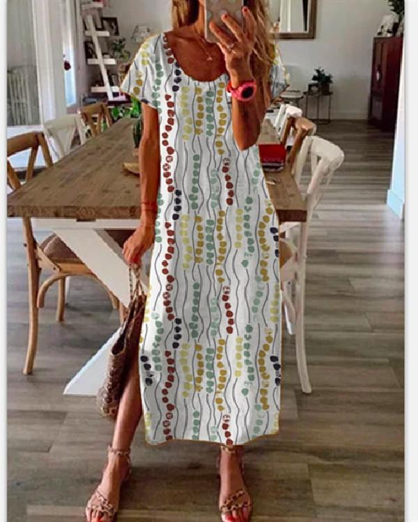 Round Neck Short Sleeve Printed Dress