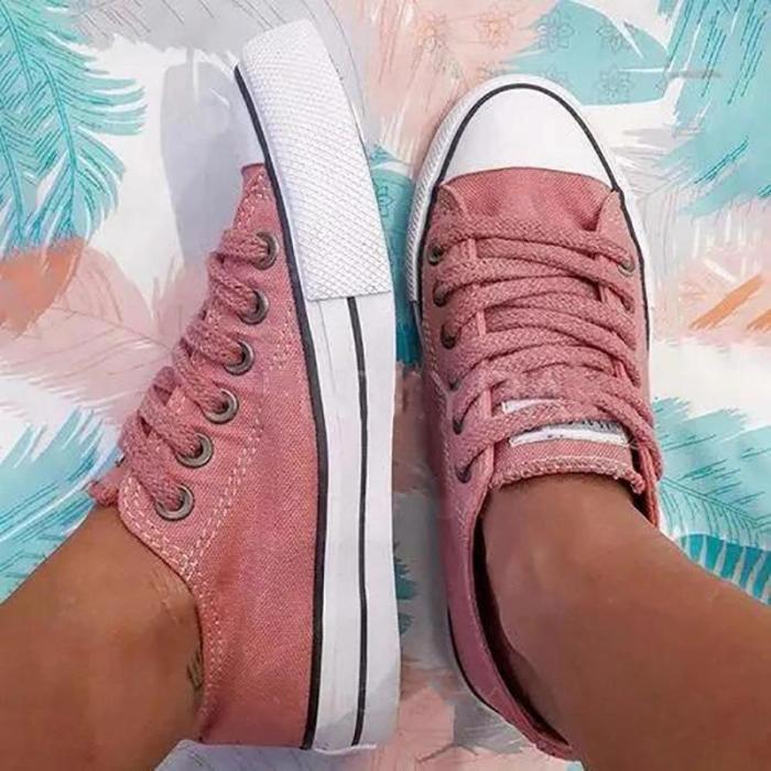Women's Round Toe Low Top Denim Flat Heel Sneakers
