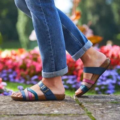 Blue Leather Summer Sandals