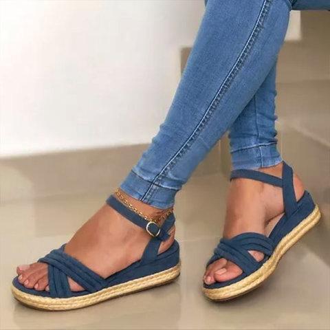 Summer Flat Heel Suede Sandals