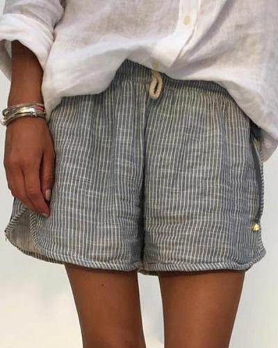 Plus Size Stripes Women Summer Pants Shorts