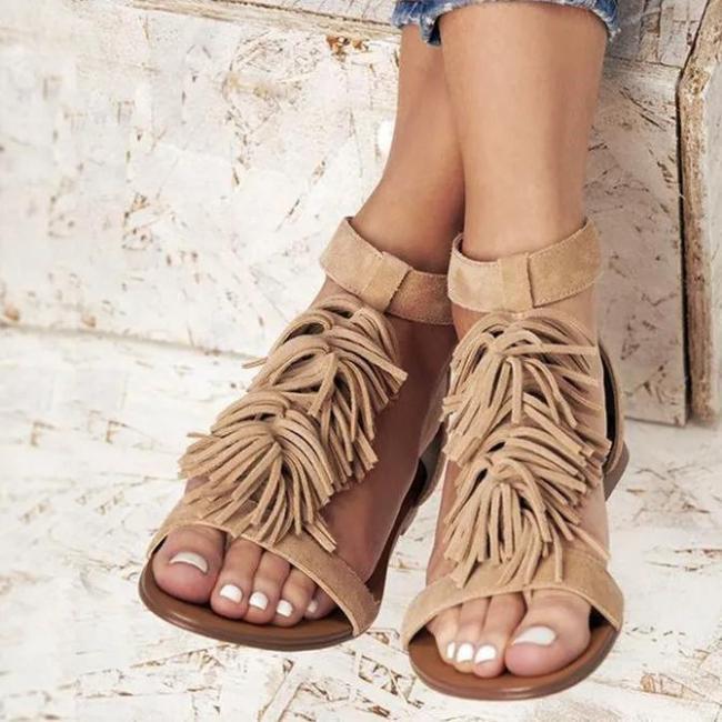 Camel Casual Flat Heel Suede Summer Sandals