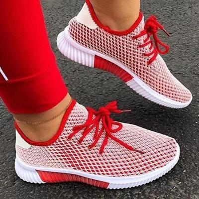 Lace-Up Round Toe Low-Cut Upper Flat With Mesh Sneakers