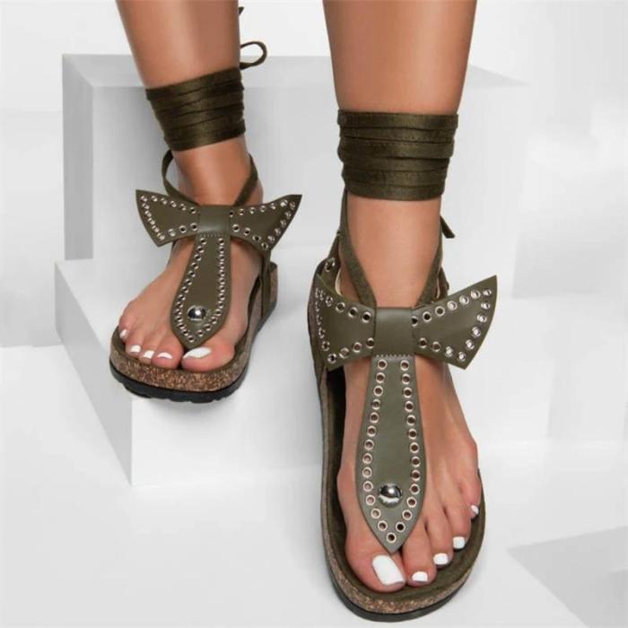 Women Bowknot Metal Circle Thongs Lace-up Flat Heel Sandals