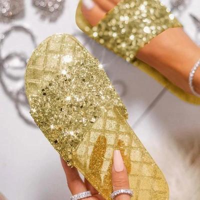 Open Toe Glitter Studded Flat Slippers