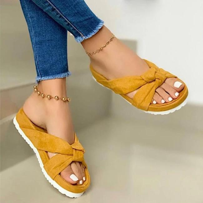 Women Summer Bowknot Open Toe Slip On Platform Slippers
