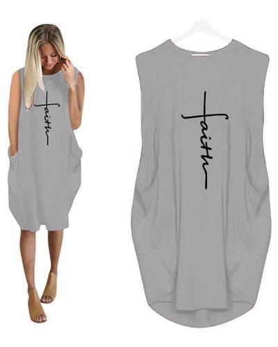Printing Long Sleeved Irregular Women's Plus Size Sleeveless Mini Dress
