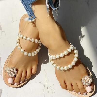 Beaded Design Toe Ring Casual Slippers