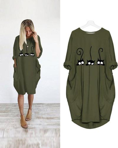 Casual Loose Irregular Pockets Mini Dress