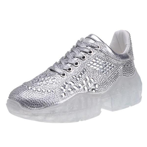 Low-Cut Upper Rhinestone Lace-Up Round Toe Flat With Sneakers
