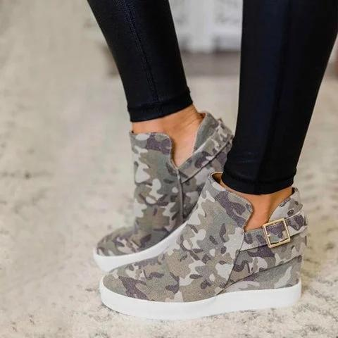 Camouflage Wedge Heel All Season Sneakers