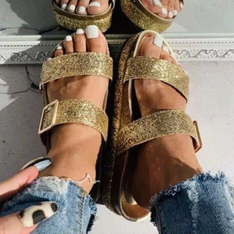 Golden Rhinestone Summer Artificial Leather Block Heel Slippers