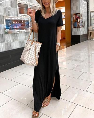 V-neck Casual Dress With Pocket