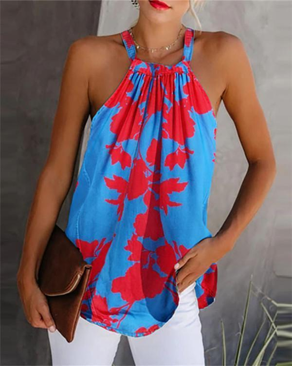 Print Crew Neck Sleeveless Casual Tank Tops