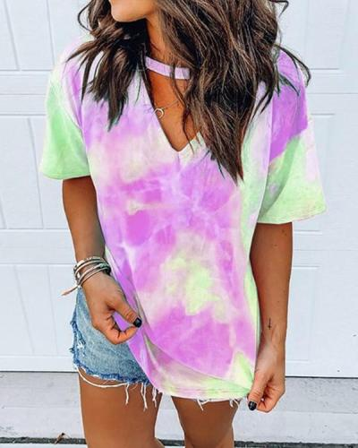 Short Sleeve Tie Dye Print T-shirt