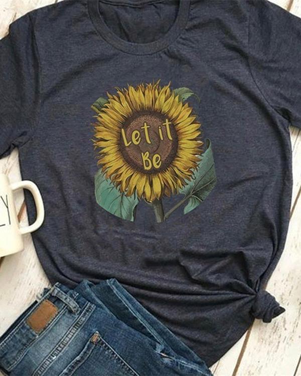 Women Summer Tee Shirt Round Neck Print T-shirts