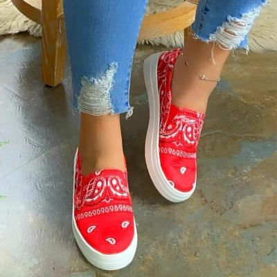Women Fabric Characteristic Pattern Slip On Platform Skate Loafers Sneakers
