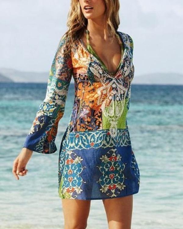 Women's Boho Beach Mini Blue Dress