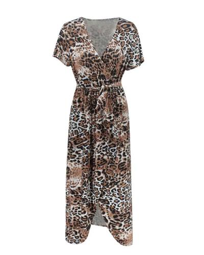 Fashion Leopard Printed V-section Short Maxi Dress