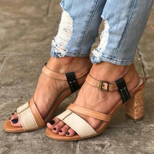 Daily Buckle Heel Sandals