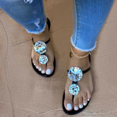 Women's flat Sandals with Rhinestones