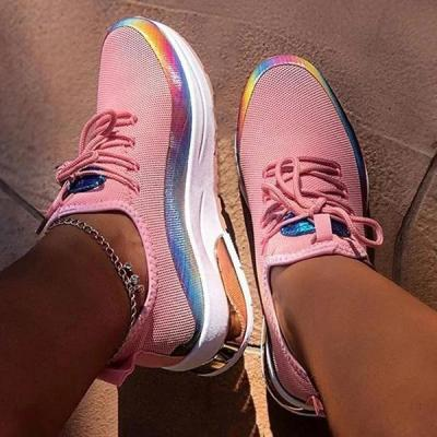 Lace-Up Round Toe Low-Cut Upper Color Block Sneakers