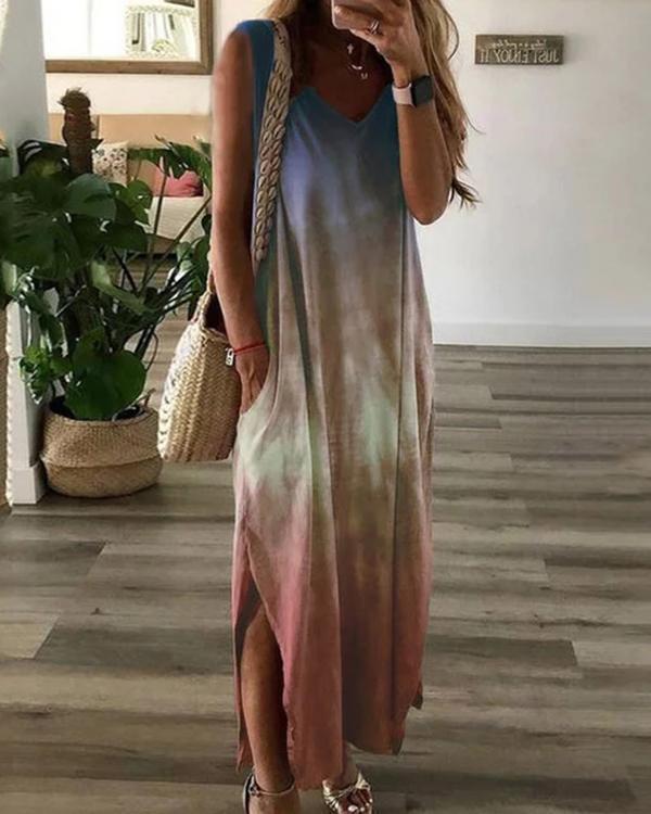 Women V Neck Ombre/tie-Dye Shift Casual Dresses