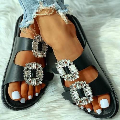 Women Summer Seaside Rhinestone Slippers