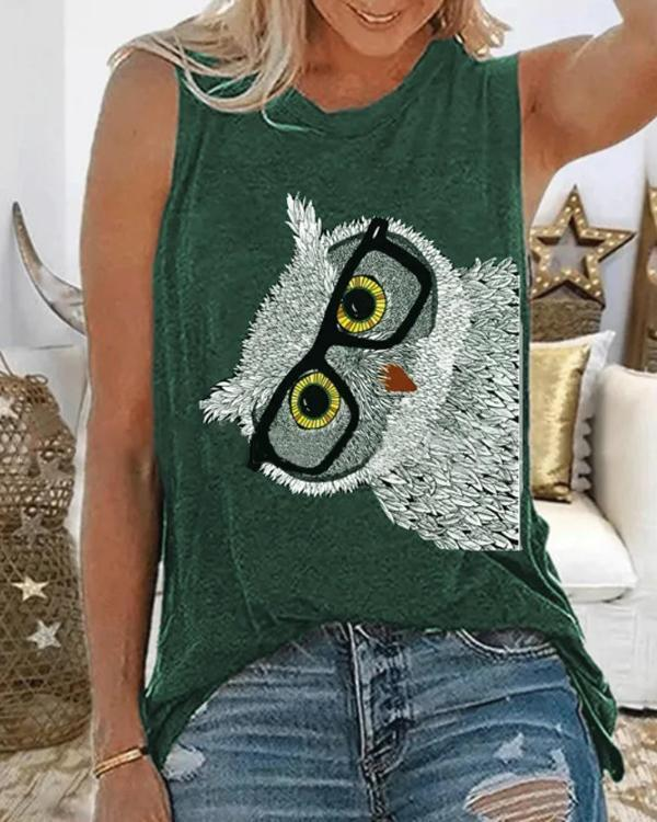 Animal Print Crew Neck Sleeveless Casual T-shirt