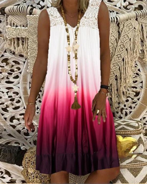 Lace Stitching V-neck Sleeveless Gradient Dress